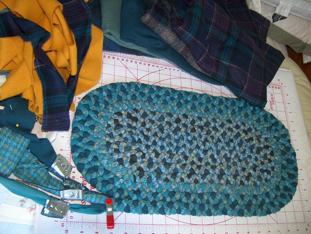 Braided wool rug in progress 2003