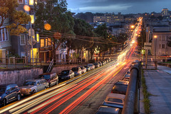 Alamo Square - View Westward (David Tenebre) Tags: sf sanfrancisco california street city red urban motion blur cars night lights twilight traffic dusk hayes hdr alamosquare lightstream photomatix