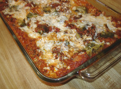 lasagna with lots of vegan cheese and fake-o meat
