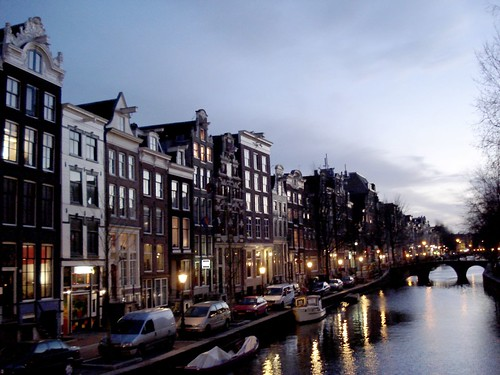 Amsterdam winter sunset