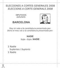vota a nadie! (nadie en campaña) Tags: politica nadie intervención elecciones2008 papeletaelectoral
