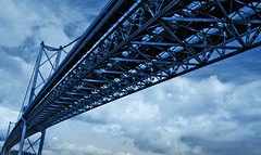 The Forth Road Bridge in blue (Semi-detached) Tags: road bridge blue sky clouds scotland edinburgh arch suspension fife steel rail stretch forth engineer lothian queensferry aplusphoto