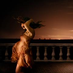 A Caress (ILINA S.) Tags: sunset woman selfportrait photomanipulation movement wind feminine dreamy balustrade megashot ilinas picswithsoul alarecherchedutempperdu