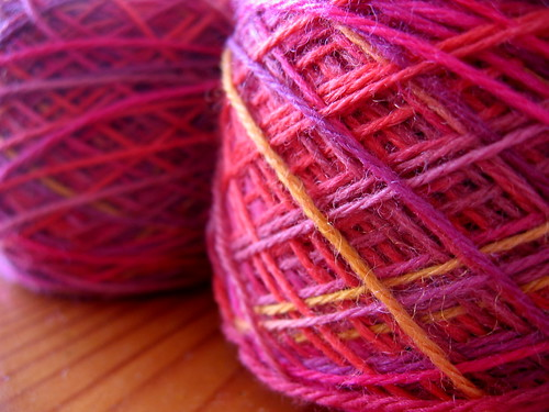 hand dyed sock yarn, balled