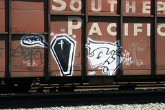 Never • Jaber (ikeya 14•2•1) Tags: california railroad streetart never train graffiti la riot graf spraypaint boxcar oc hobo railfan freight jaber rxr moniker hobotag hobomoniker benching