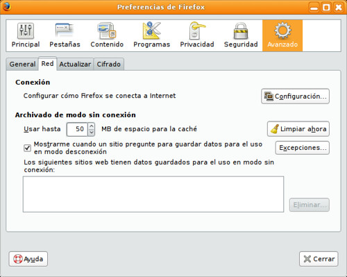 Preferencias firefox