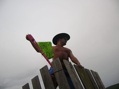 get the cowboy out of our tower (Crazy Jaesi) Tags: new york pink camp mountain green tower cowboy flag 4 torch blonde hunter jam tiki 2008 08