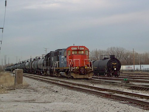 Canadian National yard switching activity with fallen flag predecessor railroad locomotives. Hawthorne Yard. Chicago Illinois. April 2007. by Eddie from Chicago