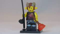 Rock & Roll Faun with Plunger and Fishing Rod Brick Yourself Custom Lego Figure