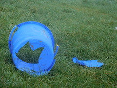 SpottedTheres a   hole in my bucket (claireartistpoet) Tags: hole bucket blue found interest