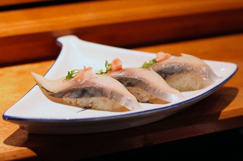 Marinated Mackeral (Saba) Nigiri with Ginger & Scallions