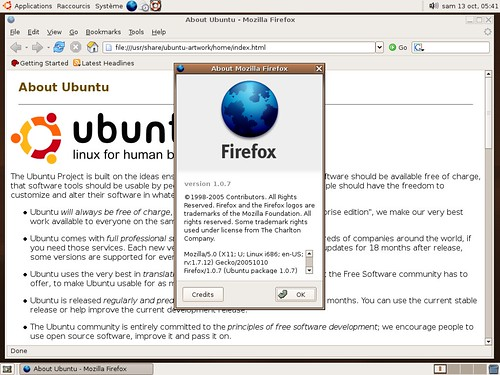 Firefox 1.0.7 sous ubuntu 5.10
