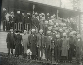 Community members on the steps of the temple in 1920s. Courtesy: Archives, MSA Museum Society