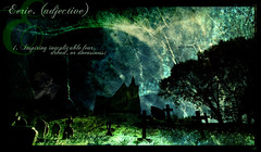 Eerie - Halloween Rewind (s0ulsurfing) Tags: blue green art texture halloween church grave graveyard illustration night photoshop wow dead island typography death design graphicdesign cool scary artwork graphic image artistic zombie sinister fear creative manipulation ps eerie graves creepy spooky creation vectis isleofwight definition font moonlight layers ghosts brook churchyard dread crow insomnia raven isle dictionary wight 2007 sleepless spooks ghouls uneasiness instantfave s0ulsurfing aplusphoto textureforlayers thedictionaryofimage