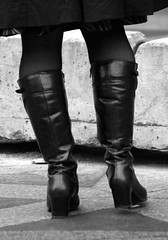 These boots are made for walking (Itzick a way) Tags: bw woman shoe legs boots d200 youngwoman