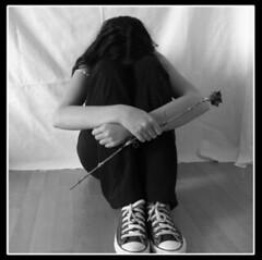 Solitude... (vek) Tags: woman white selfportrait black flower love blanco dead mujer amor negro flor emo converse autorretrato muerto vekasphotos