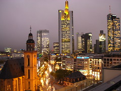 View from Zeilgalerie in Frankfurt (Adam Machowiak) Tags: street city houses house night buildings germany skyscrapers frankfurt centre main center zeilgalerie goldenheartaward