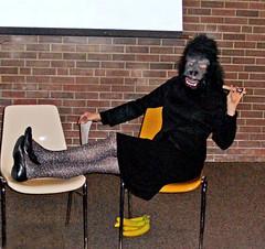 Guerrilla Girls skit (K. Sawyer Photography) Tags: costume mask chairs gorilla performance cigar bananas feminism feminist skit guerrillagirls