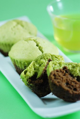 Chocolate and Matcha Green Tea Cakes