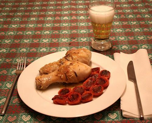 Pollo alla birra e pomodori al forno