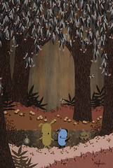 In which moonlight filters through the forest (Noferin.) Tags: art forest painting scary solo april moonlight lantern pecan 2008 acryliconwood pandacake copronasongallery noferin pecanpals carraraisland