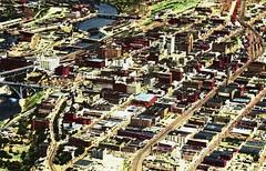 Downtown Spokane, Washington as seen from the air (Jasperdo) Tags: history vintage spokane postcard aerialview vintagepostcard washingtonstate oldpostcard inlandempire