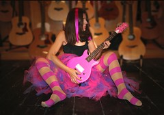 Guitar Heroine With Tutu (sosij) Tags: pink selfportrait thankyou guitar stripes guitars luna guitarhero machinehead tutu hitchin pinkstripes guitarshop artisticexpression explore16 fashionhosiery jonathanaston guitarheroine cmwdpinkpurple bucklesbury dcelectric