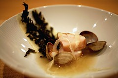 Fluke with Clams, Trumpet Mushroom Puree, Pickled Fennel, Nori, and Bacon Dashi