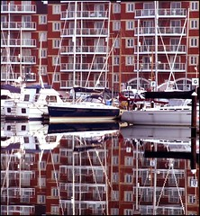 2008: Neptune Quay (Simon_K) Tags: reflection beautiful port docks boats mirror suffolk waterfront urbandecay quay wharf docklands yachts 1000 ipswich urbanrenewal wetdock eastanglia quayside regeneration industrialdecay dockside urbanwasteland ransomes neptunequay orwellquay wherryquay regattaquay 2008a cliffquay