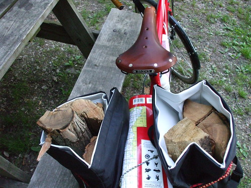 Saddle, map, firewood