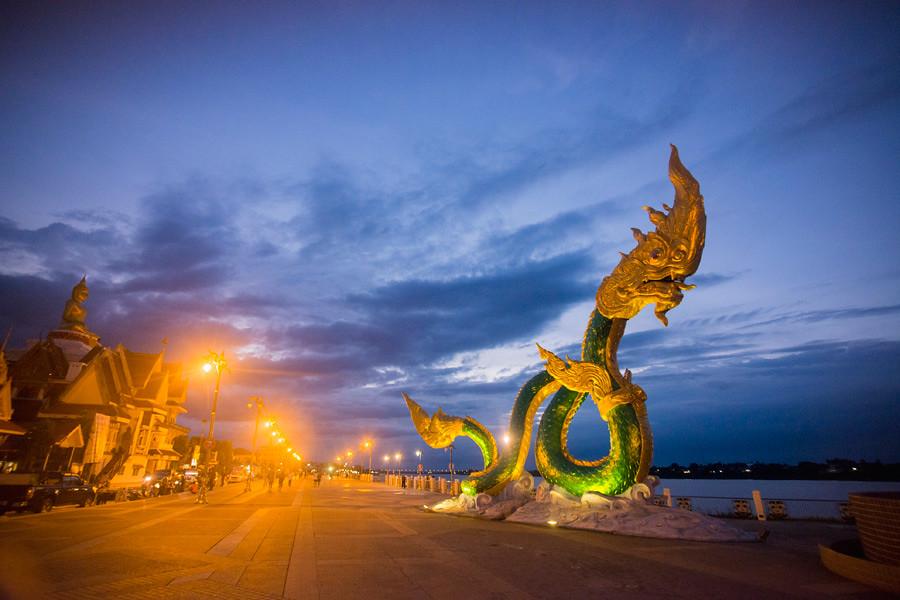 Phaya Naga statues on the banks of the Mekong River in Nong Khai