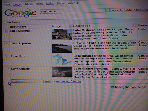 Google Squared Screenshot