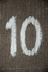 Large number 10 painted on wall