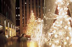 Rockefeller Center Christmas Tree 1954 (PLCjr) Tags: christmas new york xmas old city nyc newyorkcity white ny newyork tree film rock night 35mm vintage lights antique manhattan rockefellercenter 1954 center christmastree angels predigital glowing therock rockefeller slides uncletony manhattanchristmas