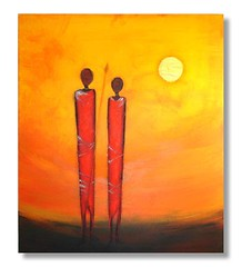 Contemporary painting 'Serengetti sunrise' (Sunset Contemporary Art by Shirley Shelton) Tags: africa original abstract art modern painting mixed media acrylic shadows graphic contemporary tribal semi canvas expressionist shelton shirley warriors colourful maasai stylized bold textured serengetti