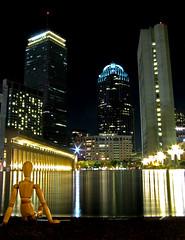welcome to boston, woody (sandcastlematt) Tags: longexposure reflection boston night buildings massachusetts woody reflectingpool prudentialcenter bostonist christiansciencecenter universalhub adventuresofwoody