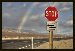 Rainbow and Stop Sign (sandy.redding) Tags: california desert photomatix tonemapped nikkor50mmf18d explored shotwithmikebyrne