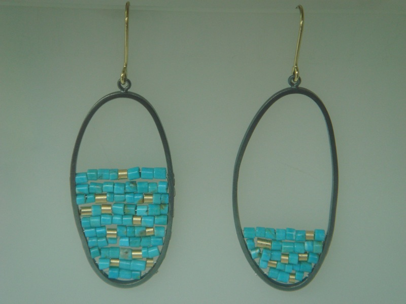 turquoise and gold 'reef' earrings.JPG