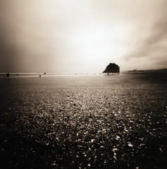 return to neskowin (manyfires) Tags: sea blackandwhite film beach oregon coast pebbles pinhole pacificocean shore oregoncoast zero2000 neskowin zeroimage palabra proposalrock ghostforest thisimageissocalmandstill comparedtothesameplacelastweekend goshidolovetheseaandshore pinholebb