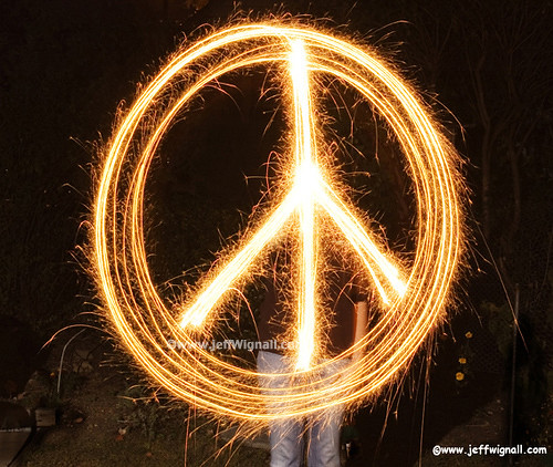 peace sign with sparklers