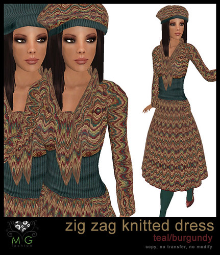 [MG fashion] Zig zag knitted dress (teal/burgundy)