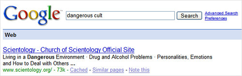 Scientologists Google Bombed?