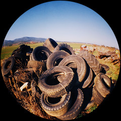 Tired Tires (Mas-Luka) Tags: italy lomo lomography italia december wheels rubber tires fisheye toscana dicembre 2007 gomme agriturismo