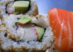 sushi (CANDYTANGERINE) Tags: california food cold set feast sushi japanese raw snack roll nigiri treat console komachi nori substitute slamon chocotate