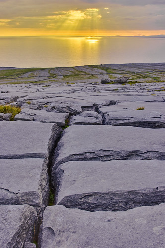 Sunset above Galway bay seen from Blackhead, Clare, Ireland