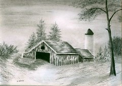 Barn and Silo (adamsart) Tags: trees barn farm drawings silo debbie graphitedrawings charcoaldrawings