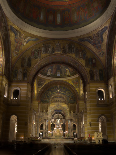 Cathedral Basilica of Saint Louis, in Saint Louis, Missouri, USA - interior by candlelight