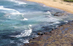 Coledale Beach NSW Australia (Tom N.) Tags: beach water rocks aqua waves aerial kap kiteaerialphotography coledale kiteview