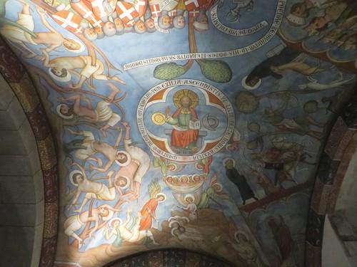 Fresque, église romane St Sèverin (XIIe-XIIIe), Marktplatz, Boppard, Landkreis Rhein-Hunsrück, Rhénanie-Palatinat, Allemagne.