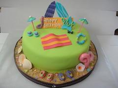 Olivia's 9th Birthday Cake (Cakes by Kali) Tags: birthday pink flowers blue sky orange shells hot flower green beach lines sunglasses sign cake glitter happy star sand surf purple stripes board 9 towel diamond lei sparkle flip luau hawaiian flops ribbon pearl lime 9th umbrellas rinestone nineth